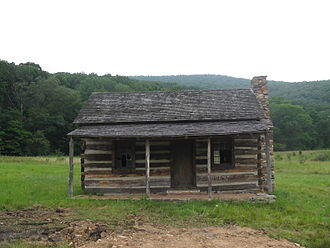 Joseph Hanks - Replica of Joseph Hanks's cabin at Mike's Run in what is now Mineral County, West Virginia. The cabin was rebuilt in 1927 for the Nancy Hanks Memorial.