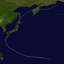 Map plotting the track and the intensity of the storm, according to the Saffir-Simpson scale Nancy 1961 track.png