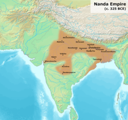 The Nanda dynasty at its greatest extent under Dhana Nanda c. 325 BCE.