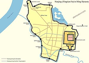 Nanjing - Map of Nanjing (Jinling, Yingtian Fu) in Ming Dynasty