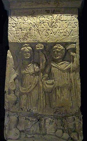 Sucellus - Relief of Nantosuelta and Sucellus from Sarrebourg. Now in the Museums of Metz.