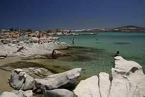 Naousa, Paros - A view towards Naoussa from Kolympithres beach