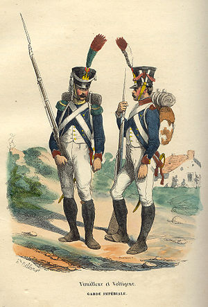 Tirailleur - Tirailleur (right) and a Voltigeur (left) of the Young Guard.