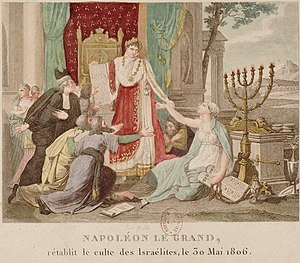 Jewish emancipation - An 1806 French print depicts Napoleon Bonaparte emancipating the Jews