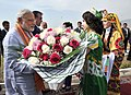 Narendra Modi being welcomed on his arrival at the India-Tajik Friendship Hospital, in Quarghan Teppa, Dushanbe, Tajikistan on July 13, 2015. The President of Tajikistan, Mr. Emomali Rahmon is also seen (1).jpg