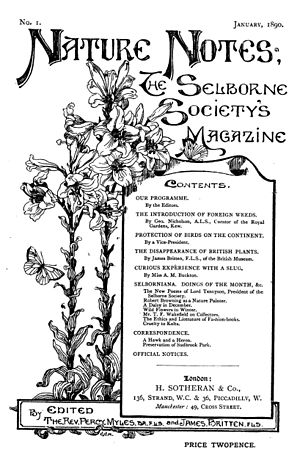 Selborne Society - Cover of Nature Notes (1890)