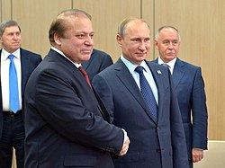 Nawaz Sharif and Vladimir Putin, Ufa (cropped)