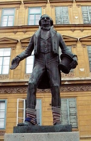 Yarn bombing - Statue of Johann Nestroy near Nestroyplatz, Vienna