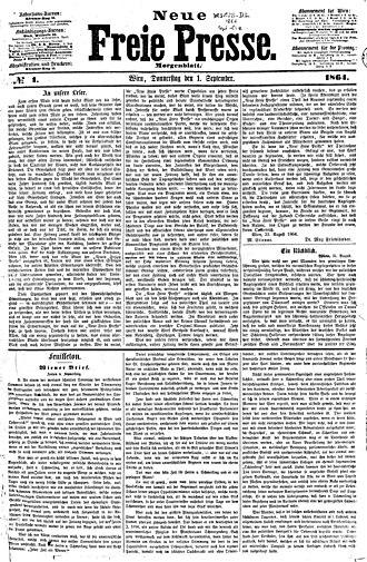 Neue Freie Presse - Image: Neue Freie Presse 1 September 1864 №1