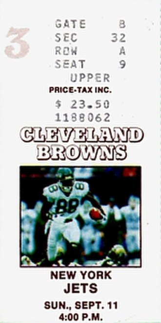 1988 New York Jets season - A ticket for a September 1988 game between the Jets and the Cleveland Browns.