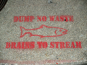 London Convention on the Prevention of Marine Pollution by Dumping of Wastes and Other Matter - A spray-painted sign above a sewer in Colorado Springs, Colorado warning people to not pollute the local stream by dumping.