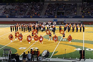 Commerce High School (Commerce, Texas) - The Commerce High School Roarin' Tiger Band performing at a football game in 2015