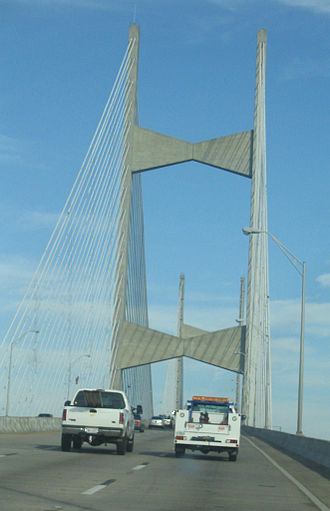 Interstate 295 (Florida) - I-295 northbound at the Dames Point Bridge