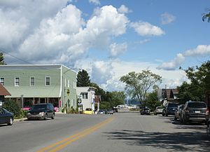 Northport, Michigan - Looking east at Northport on M-201