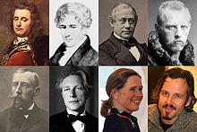 Peter Wessel Tordenskiold • Niels H. Abel • Frederik Stang • Fridtjof Nansen  Roald Amundsen • Eivind Groven • Liv Ullmann • Ari Behn