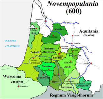 Aquitani - Late distribution of tribes in Novempopulania at the end of the 6th century CE, former Aquitania proper (as was defined in the 1st century BCE)