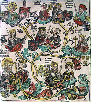 Nuremberg chronicles - Genealogy of Charlemagne (CLXXXVIIr)