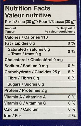 Nutrition facts label - A Canadian Nutrition Label displaying information in both English and French.