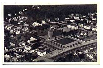 Nybro - Nybro airphoto, from an old postcard