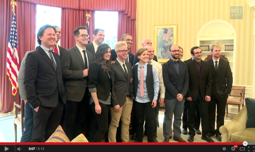 "Leading YouTube content creators met at the White House with U.S. President Obama to discuss how government could better connect with the ""YouTube generation."" ObamaYouTubers307.png"