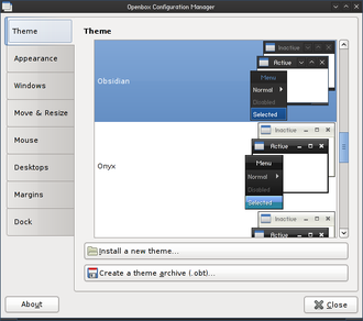 Openbox - ObConf, a GUI configuration editor for Openbox