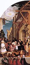 Oberried Altarpiece (left wing panel, the Adoration of the Magi), by Hans Holbein the Younger.jpg