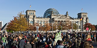 Occupy movement - Occupy Berlin protests on 15 October 2011, pictured in front of the Reichstag