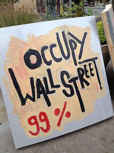 "With its rhetoric of ""the 99%"" (the people) against ""the 1%"" (the elite), the international Occupy movement was an example of a populist social movement Occupy Wall Street sign in Queens, NYC.jpg"
