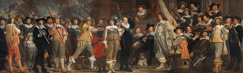 Bestand:Officieren en andere schutters van wijk VIII in Amsterdam onder leiding van kapitein Roelof Bicker en luitenant Jan Michielsz Blaeuw Rijksmuseum SK-C-375.jpeg