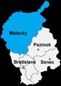 Okres Malacky in der Slowakei