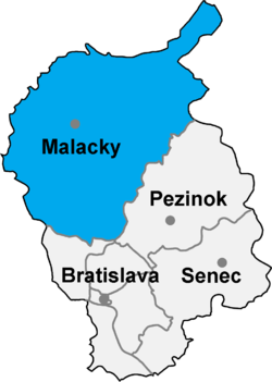 Localisation du district de Malacky dans la région de Bratislava (carte interactive)