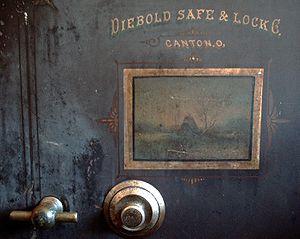 An antique Diebold safe.