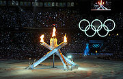 Olympic Cauldron lit at 2010 Winter Olympics opening ceremony 2.jpg