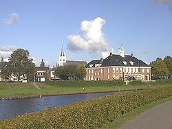 Ommen city centre with Vecht in the foreground