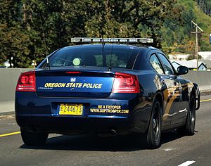 Oregon State Police - A Dodge Charger of the Oregon State Police North of Portland on I-5 in September 2012.