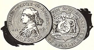 Missouri Centennial half dollar - Portion of advertisement for the half dollar (1921), showing a reverse design not used by Aitken