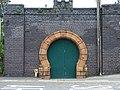 Ornate garage(^) door at Machynlleth - geograph.org.uk - 471213.jpg