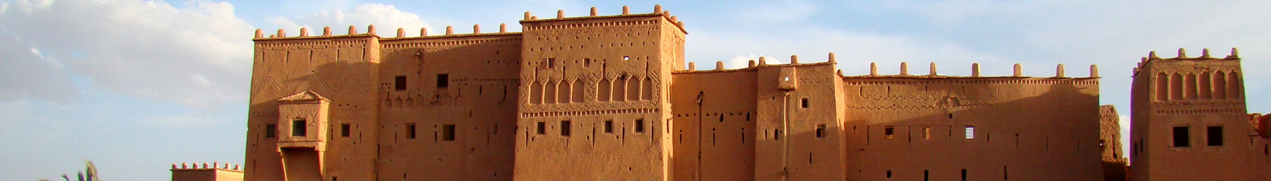 The Kasbah Taourirt on Avenue Mohammed V in Ouarzazate just before sunset in April