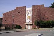 Auditorium with mural.