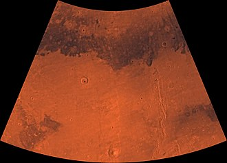 Cebrenia quadrangle - Image of the Cebrenia Quadrangle (MC-7). The northwest contains relatively smooth plains; the southeast contains Hecates Tholus (one of three Elysium shield volcanoes) and Phlegra Montes (a ridge system).