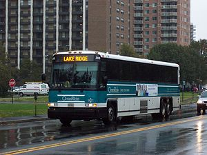 Potomac and Rappahannock Transportation Commission - A PRTC OmniRide bus in Arlington, Virginia operating the Lake Ridge express route.