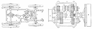 Renault Voiturette - Plan of the Renault Voiturette chassis and the variable speed gear.