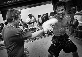 Manny Pacquiao - Pacquiao with his coach Freddie Roach