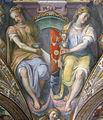 Palazzo capponi-vettori, salone poccetti, pennacchio con stemma capponi soderini, 2.JPG