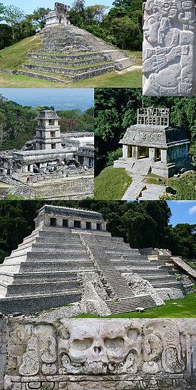 パレンケ遺跡の建物と碑文