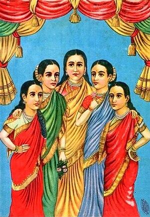 Panchakanya - Panchakanya, a pre-1945 lithograph from Ravi Varma Press.