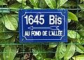 """Panneau """"1645 Bis Au fond de l'allée"""" rue Centrale à Beynost (Ain, France) en novembre 2017.JPG"""