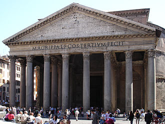 "Pantheon (religion) - A pantheon in its sense as a ""temple"", this one built in 2nd-century Rome"