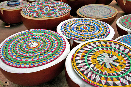 Fulani calabashes used for butter and milk storage and as containers for hawking Paoua - Peul calabashes used for cheese production.jpg