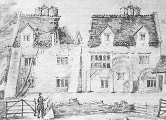 Chatteris - A privately owned 1847 watercolour of Park House before its demolition. Elements of the dissolved abbey can be seen in the walls, including Norman arches.